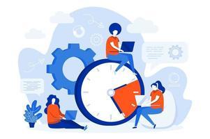 design de conceito web de gerenciamento de tempo com pessoas vetor