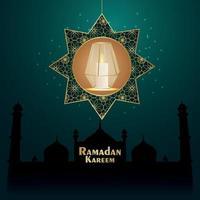 Cartão de convite eid mubarak com lanterna dourada no fundo padrão vetor