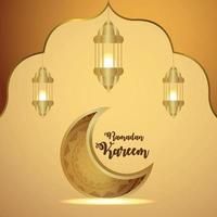 Cartão de convite Ramadan Kareem com ilustração em vetor criativo de lua dourada e lanternas