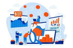 estatística de negócios web design com personagens de pessoas vetor