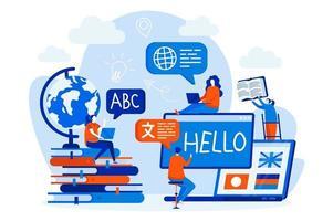 cursos de línguas web design com personagens de pessoas vetor