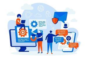 conceito de web design de serviço de mensagens com personagens de pessoas vetor