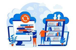 conceito de web design de biblioteca em nuvem com personagens de pessoas vetor