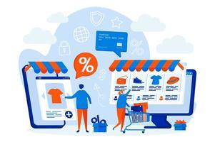 conceito de web design de compras com personagens de pessoas vetor