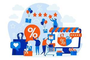 Web design do programa de fidelidade da loja com personagens de pessoas vetor