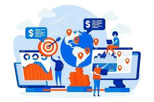 web design de negócios globais com personagens de pessoas vetor