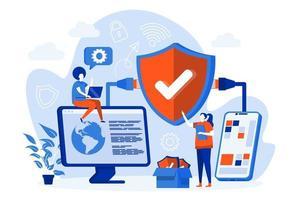 conceito de web de segurança de rede com pessoas vetor