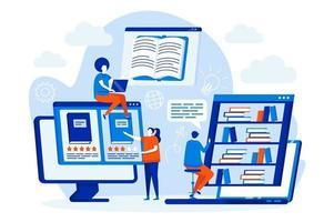 conceito de web design de biblioteca online com personagens de pessoas vetor