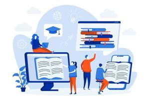 conceito da web de leitura online com personagens de pessoas vetor