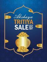 Folheto de venda akshaya tritiya com pote criativo de moedas de ouro vetor