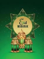 festival islâmico árabe eid mubarak com lanternas criativas vetor