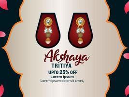 Akshaya tritiya celebração fundo de promoção de venda com brincos de ouro vetor