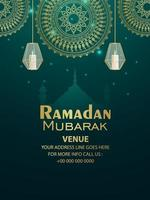 Ramadan Kareem de fundo padrão com lanternas vetor