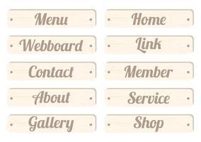 barra de menu de placa de madeira com texto, menu, página inicial, webboard, link, contato, membro, sobre, serviço, galeria, loja para design de site vetor