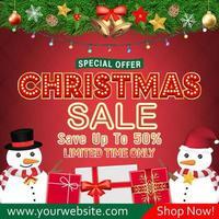 desenho de banner de venda de natal com bonecos de neve e caixas de presente vetor
