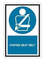 usando um sinal de símbolo de cinto de segurança no fundo branco vetor