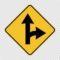 sinal de divisão para virar à direita em fundo transparente vetor