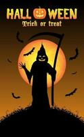 ceifador com fundo de halloween vetor