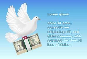 pombo branco segurando notas voando no céu vetor