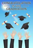 parabéns pela formatura, mãos jogam chapéus e diplomas vetor