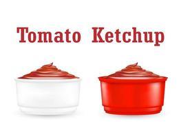 molho de ketchup de tomate em um fundo branco vetor