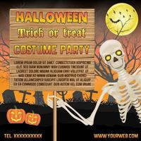 banner de promoção de halloween com esqueleto no pôster do cemitério vetor