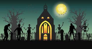 zumbi assustador de halloween no cemitério com a igreja vetor