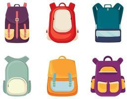 conjunto de diferentes mochilas escolares. vetor