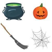 conjunto de atributos de halloween. vetor