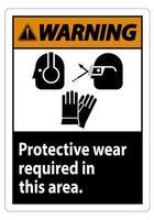 sinal de alerta, use equipamento de proteção nesta área com símbolos ppe vetor