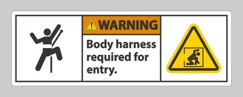 sinal de aviso arnês corporal necessário para entrada vetor