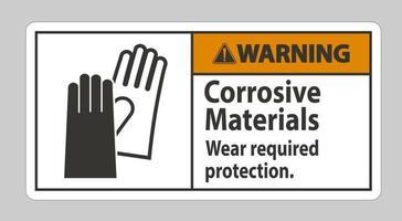 sinal de advertência materiais corrosivos usam proteção necessária vetor