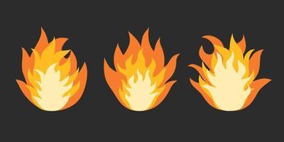 desenho animado chama de fogo isolada em fundo preto vetor