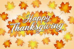feliz ação de graças com banner de folhas de outono vetor