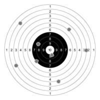 Vetor de alvos de papel de tiro de arma em fundo branco