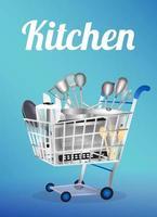 ferramenta de cozinha em um carrinho de compras vetor