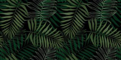 padrão tropical sem costura com folhas de palmeira vetor