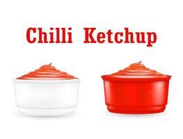 molho de chili ketchup em uma pequena tigela de plástico vetor