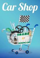peças de carro em um carrinho de compras vetor