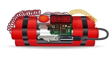 pacote de dinamite vermelha com bomba-relógio elétrica vetor