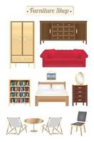loja de móveis placa de madeira com sofá, estante, escrivaninha, cadeira, guarda-roupa e cama vetor