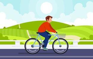 homem andando de bicicleta na colina vetor