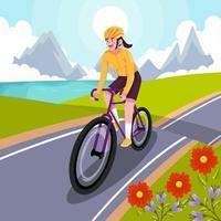 mulher feliz andando de bicicleta na colina vetor
