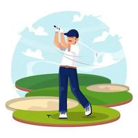homem feliz jogando golfe vetor