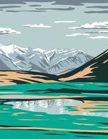 os riachos vão de perto do lago Galbraith, localizado no bairro da encosta norte do Alasca vetor