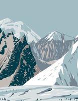 Mount Hunt Mount Huntington e Mount Dickey da cordilheira do Alasca perto de Denali vetor