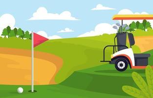 carrinho de golfe no fundo do campo verde vetor