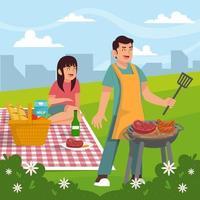 casal feliz fazendo piquenique no parque vetor