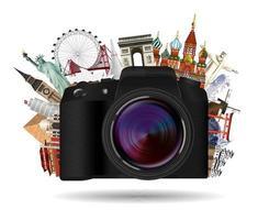 câmera de viagem compacta real com pontos de referência mundiais vetor