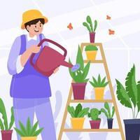 homem regando plantas em estufa vetor